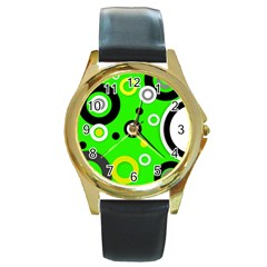 Florescent Green Yellow Abstract  Round Gold Metal Watches by OCDesignss