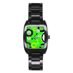 Florescent Green Yellow Abstract  Stainless Steel Barrel Watch by OCDesignss
