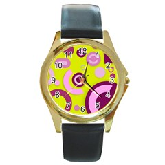 Florescent Yellow Pink Abstract  Round Gold Metal Watches by OCDesignss