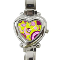Florescent Yellow Pink Abstract  Heart Italian Charm Watch by OCDesignss