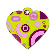 Florescent Yellow Pink Abstract  Dog Tag Heart (two Sides)
