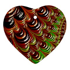 Special Fractal 31 Green,brown Ornament (heart)