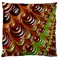 Special Fractal 31 Green,brown Large Cushion Cases (one Side)  by ImpressiveMoments