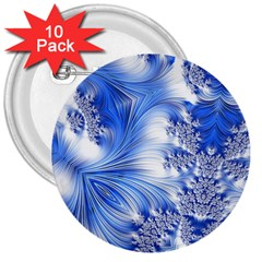 Special Fractal 17 Blue 3  Buttons (10 Pack)