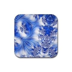 Special Fractal 17 Blue Rubber Square Coaster (4 Pack)