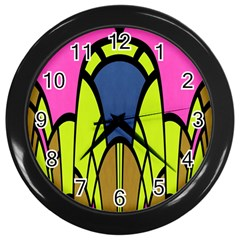Distorted Symmetrical Shapes Wall Clock (black) by LalyLauraFLM