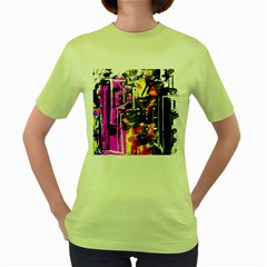 Abstract City View Women s Green T Shirt by digitaldivadesigns