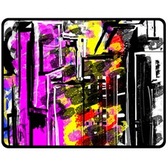 Abstract City View Double Sided Fleece Blanket (medium)  by digitaldivadesigns