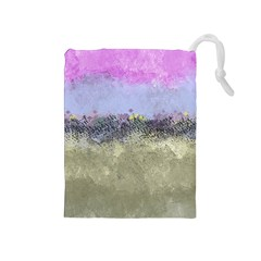Abstract Garden In Pastel Colors Drawstring Pouches (medium)