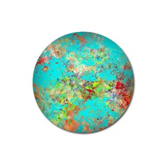 Abstract Garden In Aqua Magnet 3  (round)