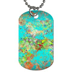 Abstract Garden In Aqua Dog Tag (one Side) by digitaldivadesigns