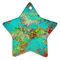 Abstract Garden In Aqua Star Ornament (two Sides)  by digitaldivadesigns