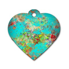Abstract Garden In Aqua Dog Tag Heart (one Side)