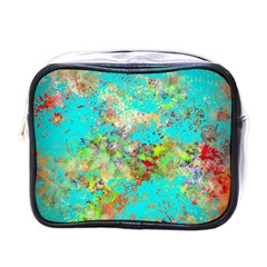 Abstract Garden In Aqua Mini Toiletries Bags