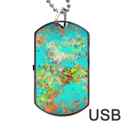 Abstract Garden In Aqua Dog Tag Usb Flash (two Sides)  by digitaldivadesigns