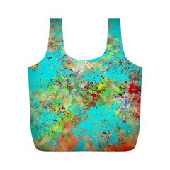 Abstract Garden In Aqua Full Print Recycle Bags (m)  by digitaldivadesigns