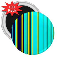 Hot Stripes Aqua 3  Magnets (100 Pack) by ImpressiveMoments
