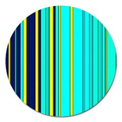 Hot Stripes Aqua Magnet 5  (round) by ImpressiveMoments