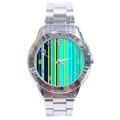 Hot Stripes Aqua Stainless Steel Men s Watch by ImpressiveMoments