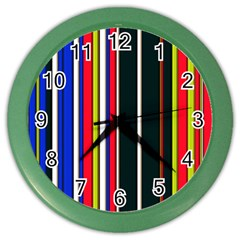 Hot Stripes Red Blue Color Wall Clocks by ImpressiveMoments