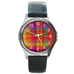 Plaid, Hot Round Metal Watches Front