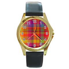 Plaid, Hot Round Gold Metal Watches by ImpressiveMoments