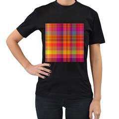 Plaid, Hot Women s T Shirt (black) (two Sided) by ImpressiveMoments