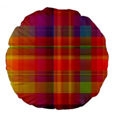 Plaid, Hot Large 18  Premium Round Cushions by ImpressiveMoments