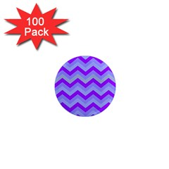 Chevron Blue 1  Mini Magnets (100 Pack)  by ImpressiveMoments