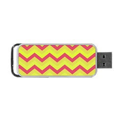 Chevron Yellow Pink Portable Usb Flash (one Side) by ImpressiveMoments