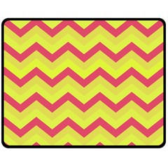 Chevron Yellow Pink Double Sided Fleece Blanket (medium)  by ImpressiveMoments