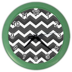 Chevron Dark Gray Color Wall Clocks by ImpressiveMoments