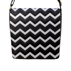 Chevron Dark Gray Flap Messenger Bag (l)  by ImpressiveMoments