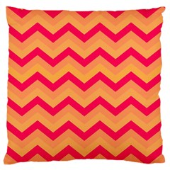 Chevron Peach Large Flano Cushion Cases (one Side)  by ImpressiveMoments
