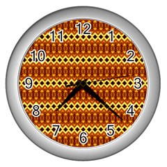 Cute Seamless Tile Pattern Gifts Wall Clocks (silver)