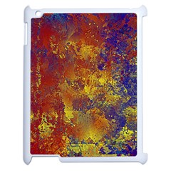 Abstract In Gold, Blue, And Red Apple Ipad 2 Case (white) by digitaldivadesigns