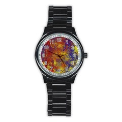 Abstract In Gold, Blue, And Red Stainless Steel Round Watches by digitaldivadesigns