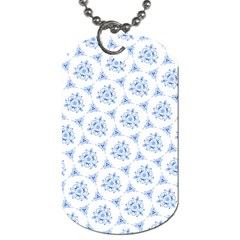 Sweet Doodle Pattern Blue Dog Tag (two Sides)