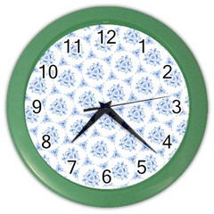 Sweet Doodle Pattern Blue Color Wall Clocks by ImpressiveMoments