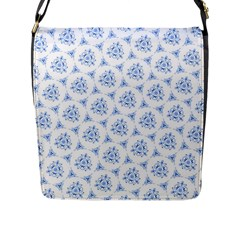 Sweet Doodle Pattern Blue Flap Messenger Bag (l)  by ImpressiveMoments