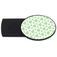 Sweet Doodle Pattern Green Usb Flash Drive Oval (4 Gb)  by ImpressiveMoments