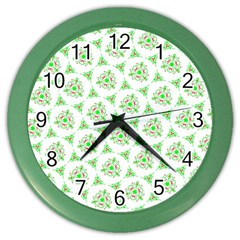 Sweet Doodle Pattern Green Color Wall Clocks by ImpressiveMoments
