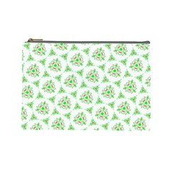 Sweet Doodle Pattern Green Cosmetic Bag (large)