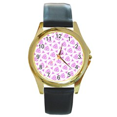Sweet Doodle Pattern Pink Round Gold Metal Watches by ImpressiveMoments
