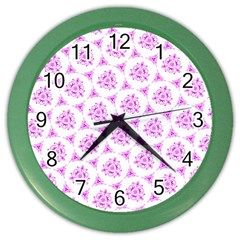 Sweet Doodle Pattern Pink Color Wall Clocks by ImpressiveMoments