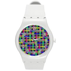Doodle Pattern Freedom Black Round Plastic Sport Watch (m) by ImpressiveMoments