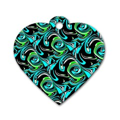Bright Aqua, Black, And Green Design Dog Tag Heart (two Sides) by digitaldivadesigns