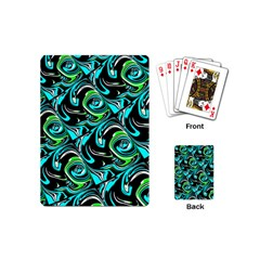Bright Aqua, Black, And Green Design Playing Cards (mini)  by digitaldivadesigns