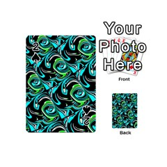 Bright Aqua, Black, And Green Design Playing Cards 54 (mini)  by digitaldivadesigns