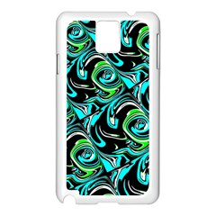 Bright Aqua, Black, And Green Design Samsung Galaxy Note 3 N9005 Case (white) by digitaldivadesigns